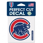 "Chicago Cubs Walking Bear Logo Perfect Cut Color Decal 4""x4"""