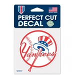 "New York Yankees Top Hat Logo Perfect Cut Color Decal 4""x4"""