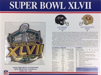 Super Bowl XVLII (47) Willabee and Ward Patch Card Baltimore Ravens vs. San Francisco 49ers 2013