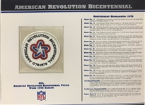 Willabee & Ward American Revolution Bicentennial 1976 Season NFL Team Patch Card Willabee & Ward