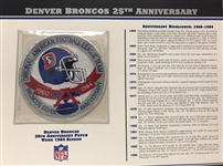 Willabee & Ward Denver Broncos 25th Anniversary 1984 Season Team Patch Card