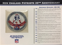 Willabee & Ward New England Patriots 25th Anniversary 84 Season Team Patch Card