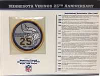 Willabee & Ward Minnesota Vikings 25th Anniversary 1985 Season Team Patch Card