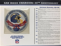 Willabee & Ward San Diego Chargers 25th Anniversary 1984 Season Team Patch Card