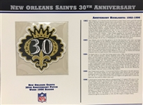 Willabee & Ward New Orleans Saints 30th Anniversary 1996 Season Team Patch Card