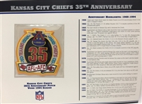 Willabee & Ward Kansas City Chiefs 35th Anniversary 1994 Season Team Patch Card