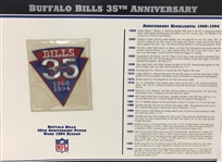 Willabee & Ward Buffalo Bills 35th Anniversary 1994 Season Team Patch Card