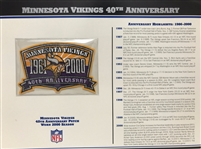 Willabee & Ward Minnesota Vikings 40th Anniversary 2000 Season Team Patch Card