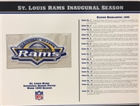 Willabee & Ward St Louis Rams 1995 Inaugural Season NFL Team Patch Card