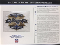 Willabee & Ward St Louis Rams 10th Anniversary 2004 Season Team Patch Card