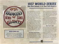 Willabee & Ward New York Yankees World Series Patch 1937 Vs Giants Willabee & Ward Baseball MLB