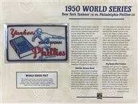 Willabee & Ward 1950 World Series Patch Card Willabee & Ward Ny Yankees Vs Philadelphia Phillies