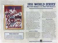 Willabee & Ward 1951 World Series Patch Card  New York Yankees Vs New York Giants