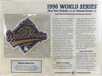 Willabee & Ward 1996 World Series Patch Stat Sheet  Ny Yankees Vs Atlanta Braves