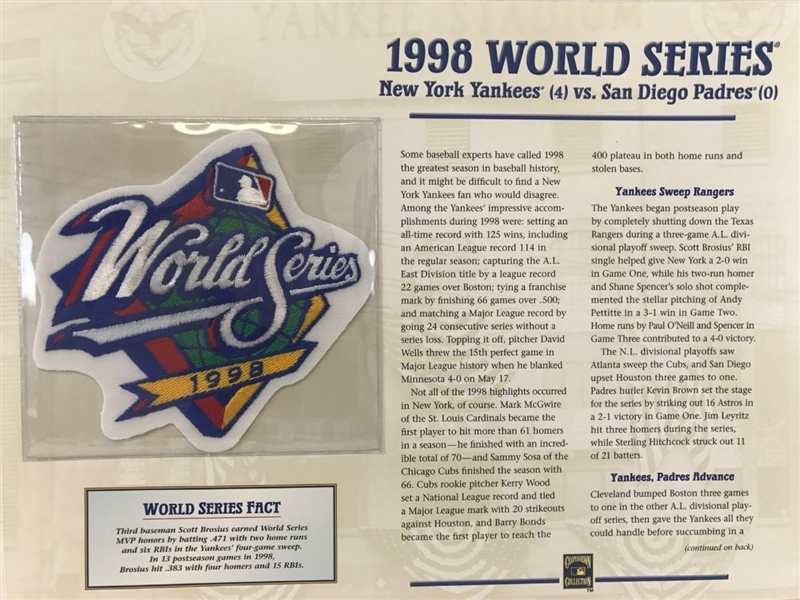 Item Detail - Willabee & Ward 1998 World Series Patch & Stat