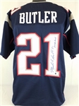 "Malcolm Butler ""2x SB Champ"" New England Patriots Signed Blue Jersey Autographed Steiner COA"