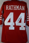 Tom Rathman San Francisco 49ers Signed Red Jersey Authentic Autograph GTSM Hologram & COA