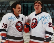 Mike Bossy & Bryan Trottier Signed & HOF Inscribed 16x20 Photo JSA Witness COA #W884965