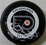 Bill Barber Signed Flyers Puck Authentic Autograph JSA #E02101