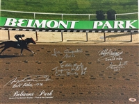 Belmont Park 16x20 Photo Signed by Pincay, Cordero J, Maple, Santos, and Cruguet, MAB COA