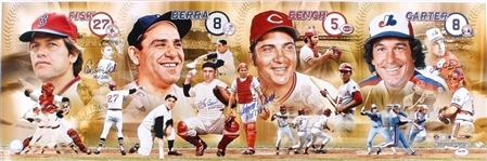 Berra, Bench, Fisk & Carter Signed 12x36 Photo w/ HOF Inscriptions PSA/DNA LOA
