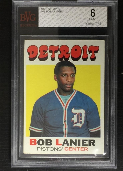 Bob Lanier 1971-72 Topps Rookie Card Beckett Graded 6 Slabbed