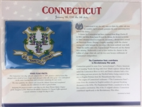 Connecticut Willabee & Ward State Flag Patch with Statistics and Collectible Info Card