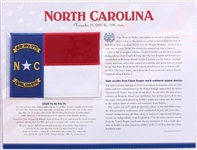 North Carolina Willabee & Ward State Flag Patch with Statistics and Collectible Info Card