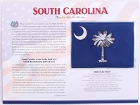 South Carolina Willabee & Ward State Flag Patch with Statistics and Collectible Info Card