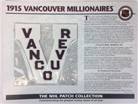 1915 Vancouver Millionaires Patch NHL Hockey Willabee & Ward Official Jersey Patch