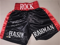"Hasim Rahman Signed Boxing Trunks ""2x Heavyweight Champ"" Inscription JSA COA"