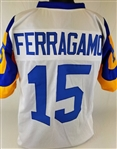Vince Ferragamo Los Angeles Rams Custom White/Yellow Away Jersey Mens 2XL