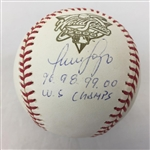 "Luis Sojo Signed ""96, 98, 99, 00 World Series Champs"" 2000 World Series Baseball JSA COA #S60972"