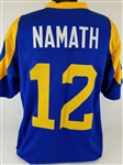 Joe Namath Los Angeles Rams Custom Blue/Yellow Home Jersey Mens 3XL
