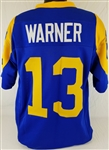 Kurt Warner Los Angeles Rams Custom Blue/Yellow Home Jersey Mens 2XL