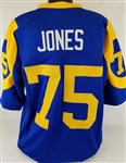 Deacon Jones Los Angeles Rams Custom Blue/Yellow Home Jersey Mens 2XL
