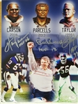 Bill Parcells, Lawrence Taylor, Harry Carson HOF Inscription 11x14 Signed Photo JSA COA