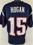 "Chris Hogan ""SB LI Champs"" Patriots Signed Blue Jersey JSA Witness Autograph"