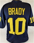 Tom Brady Michigan Wolverines Custom Blue Football Jersey Mens XL